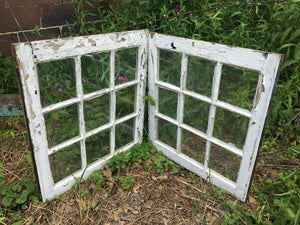 "Shabby Weathered 9 Pane Exterior Windows, Rustic Project Material 26""x29"""