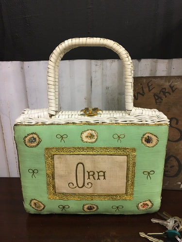 Hand Made SAKS Fifth Ave, Folk Art Basket Weave Handbag