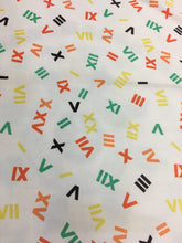 Vintage 1960s Winston Print Fabric, Multi Color Roman Numeral Pattern 7'x5'