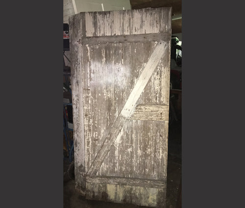 Weathered Shabby Chic Barn Door, Crackle White Solid Exterior 72