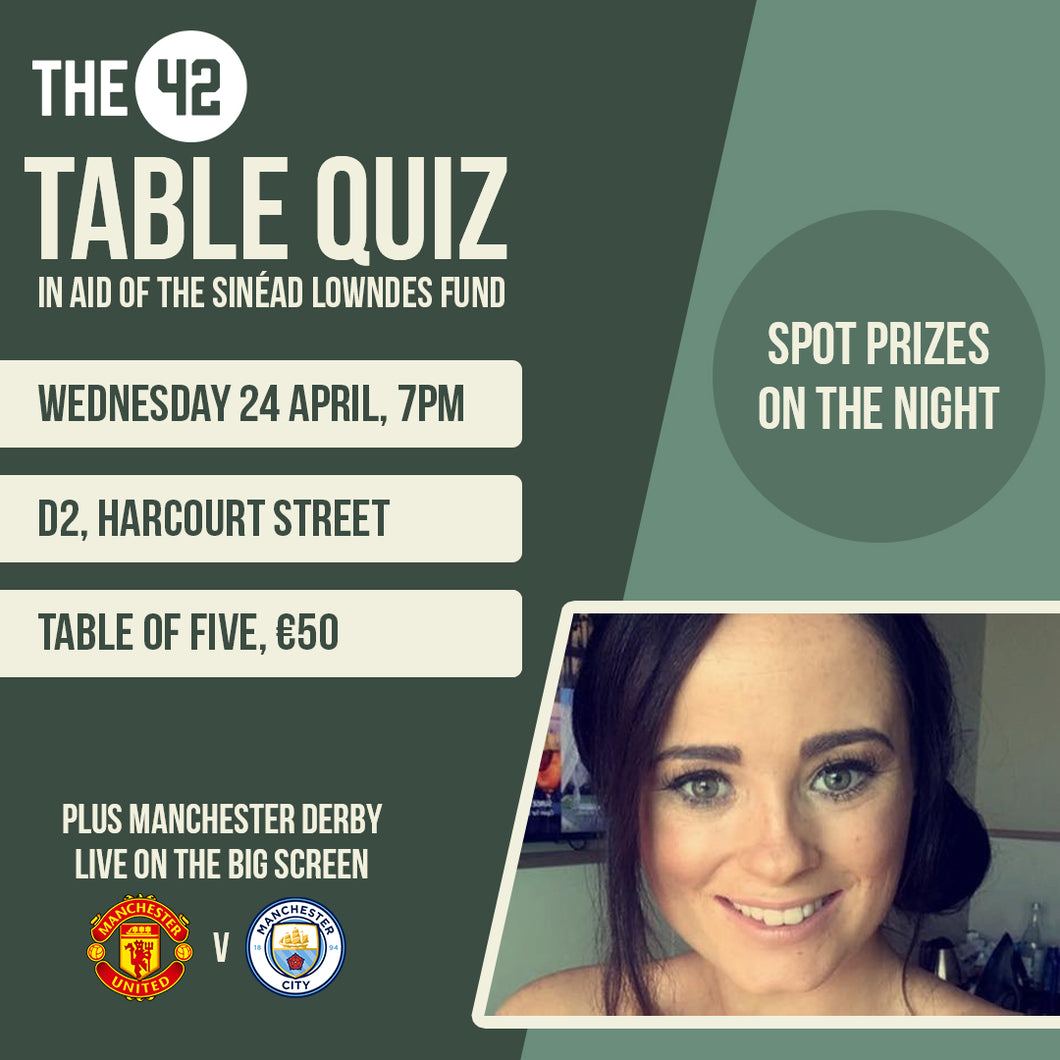 The42 Table Quiz in aid of the Sinéad Lowndes Fund (24 April)