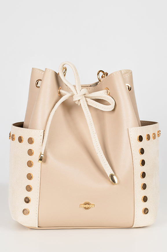 A white bucket bag from the front view
