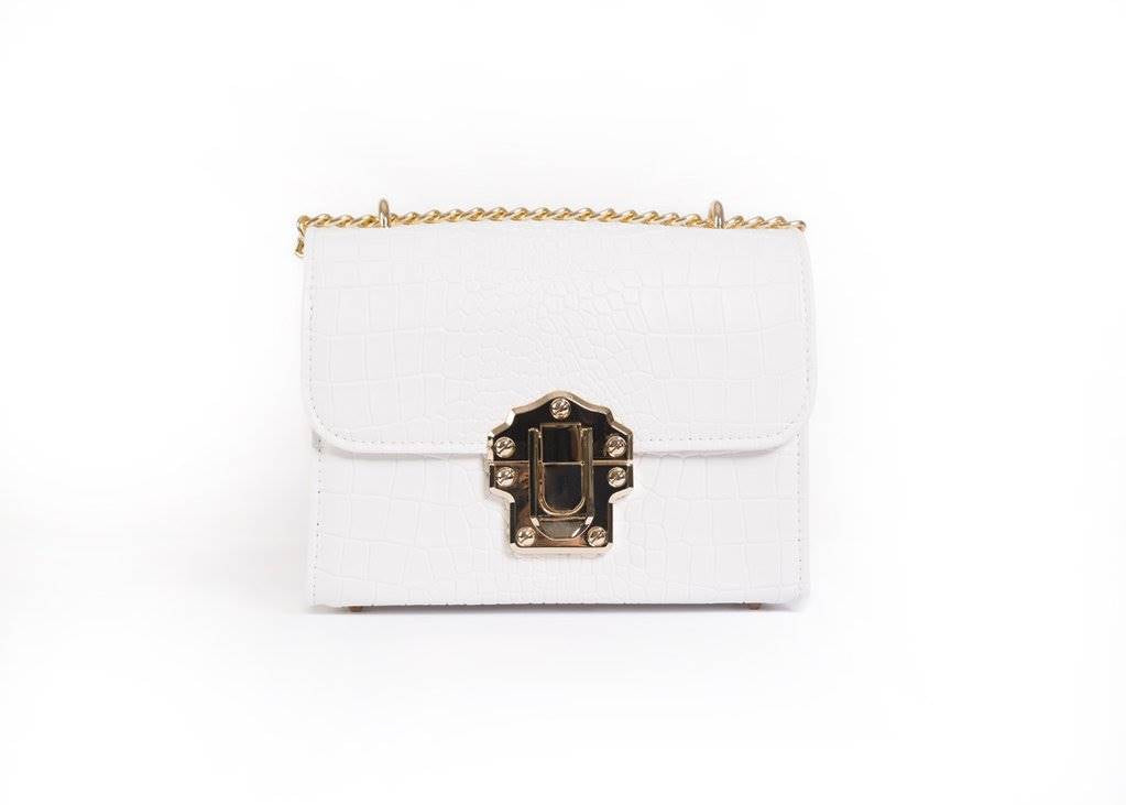 A white handbag from the front.