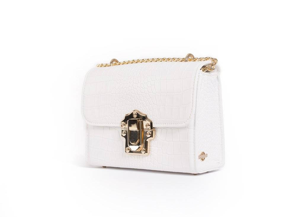 A white handbag from the front side.