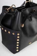 A close-up of the bucket bag