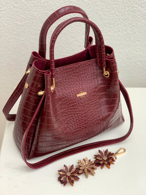 Mini Mara bordeaux croco