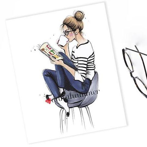 "Bookworm Art Print ""Coffee Break"""