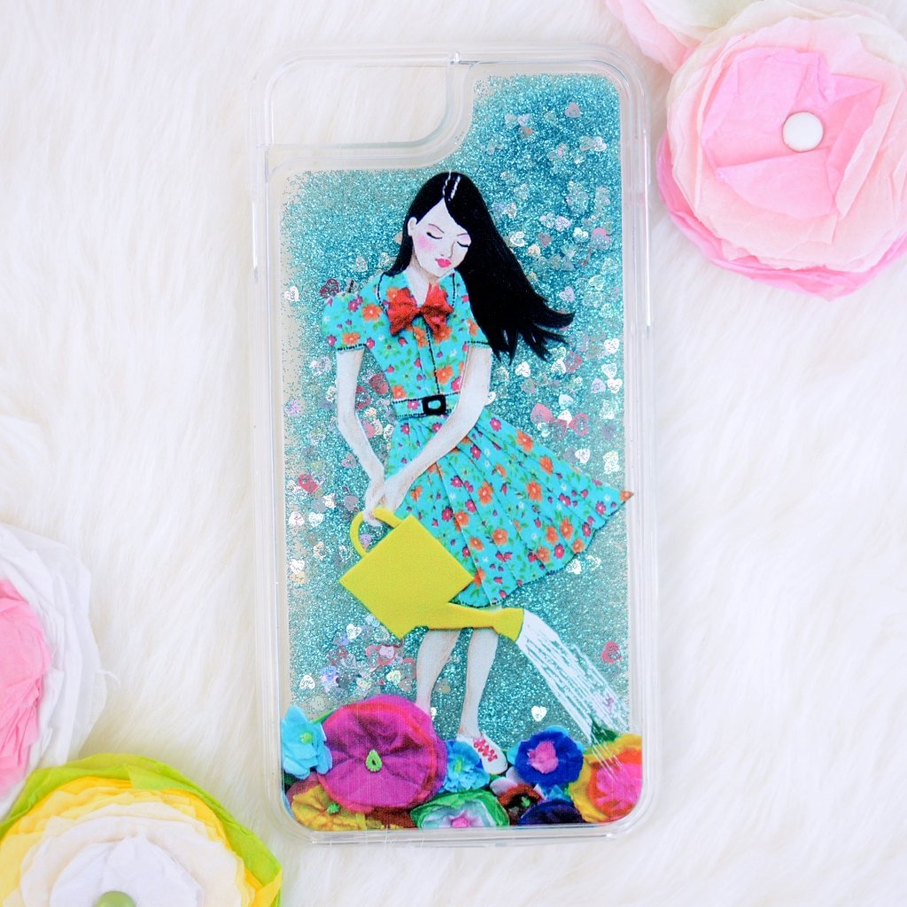 "Shimmering Glitter Hearts iPhone Case ""Girl In Flowerland"""