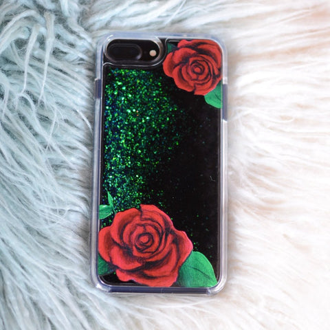 "Glitter iPhone Case ""Roses"" In Deep Black/Emerald"