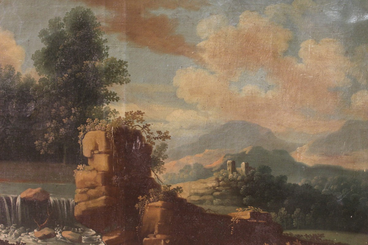 Ancient Italian painting depicting landscape with 18th century hunters
