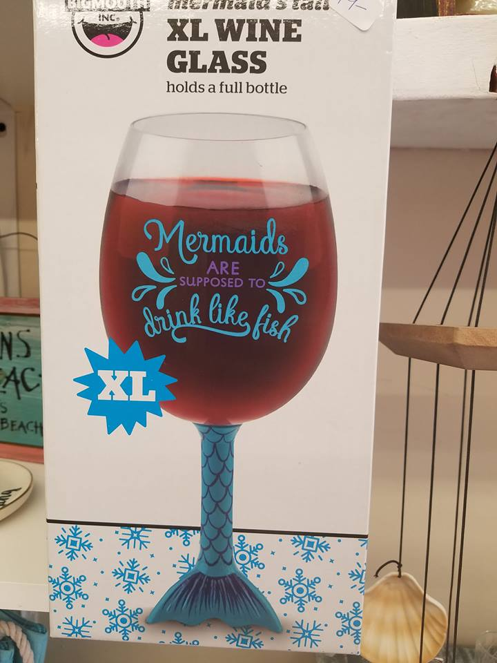 Mermaids are Supposed to Drink like Fish XL Wine Glass