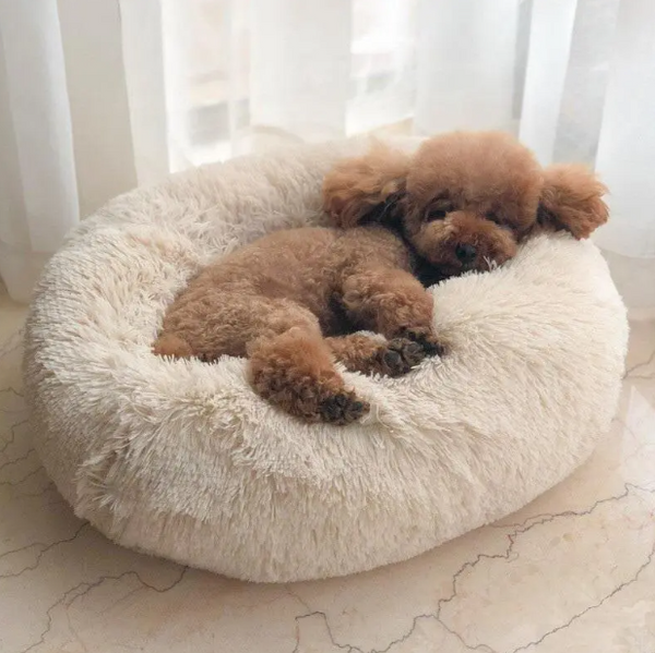 Dog Cat Pet Donut Bed Long Plush Calming Super Soft Warm Round Kennel