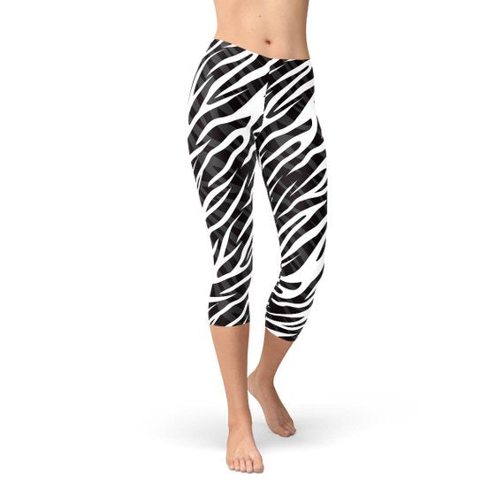 SagaFit™ Zebra Stripes Capri Leggings