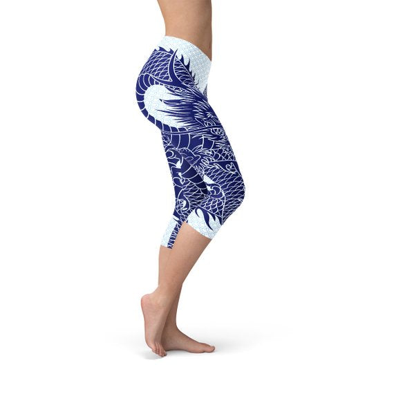 SagaFit™Japanese Dragon Capri Leggings