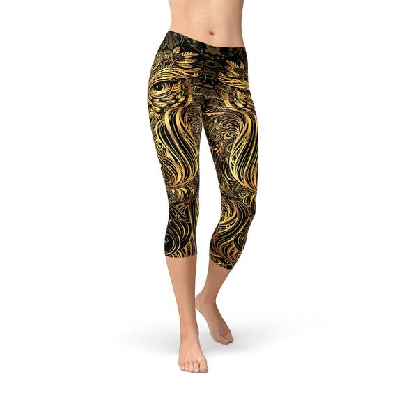 SagaFit™ Golden Ornament Owl Capri Leggings