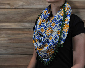 Bawal Scarf (Cream Blue - Green Variant)
