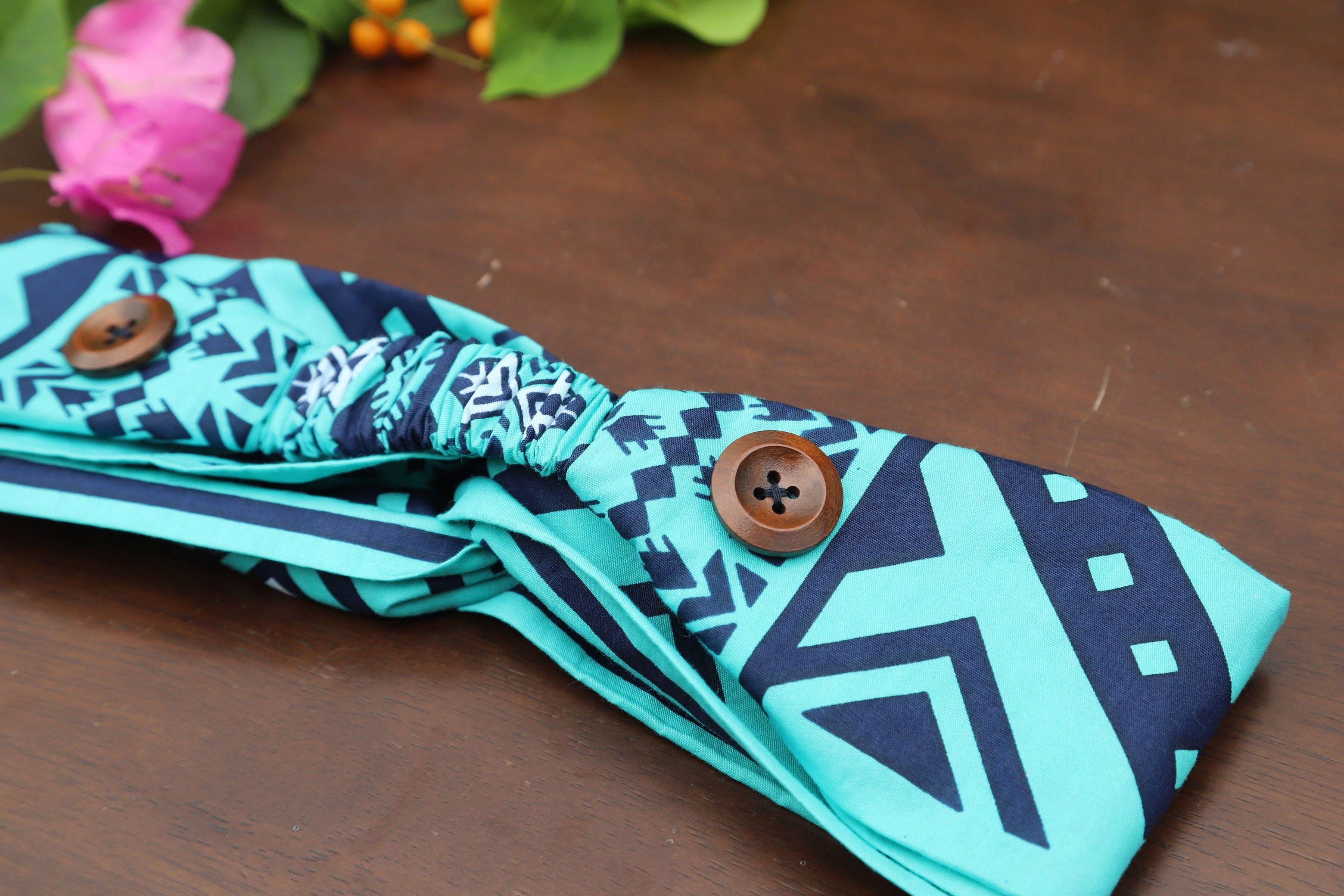 Headband with Buttons - Blue Teal