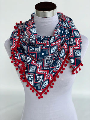 Bawal Scarf (Blue Red - Red Variant)