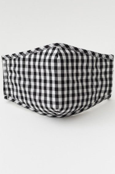Gingham Face Mask w/Nose Piece & Filter Pocket