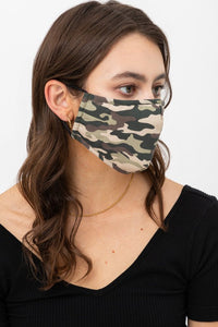 Camo Fashion Face Mask w/Nose Piece & Filter Pocket