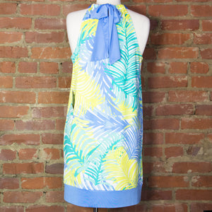 Natalie Blue Palm Bow Tie Dress