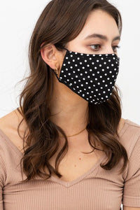 Dot Fashion Face Mask w/Nose Piece & Filter Pocket