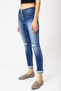 High Rise Button Ankle Skinny Jean