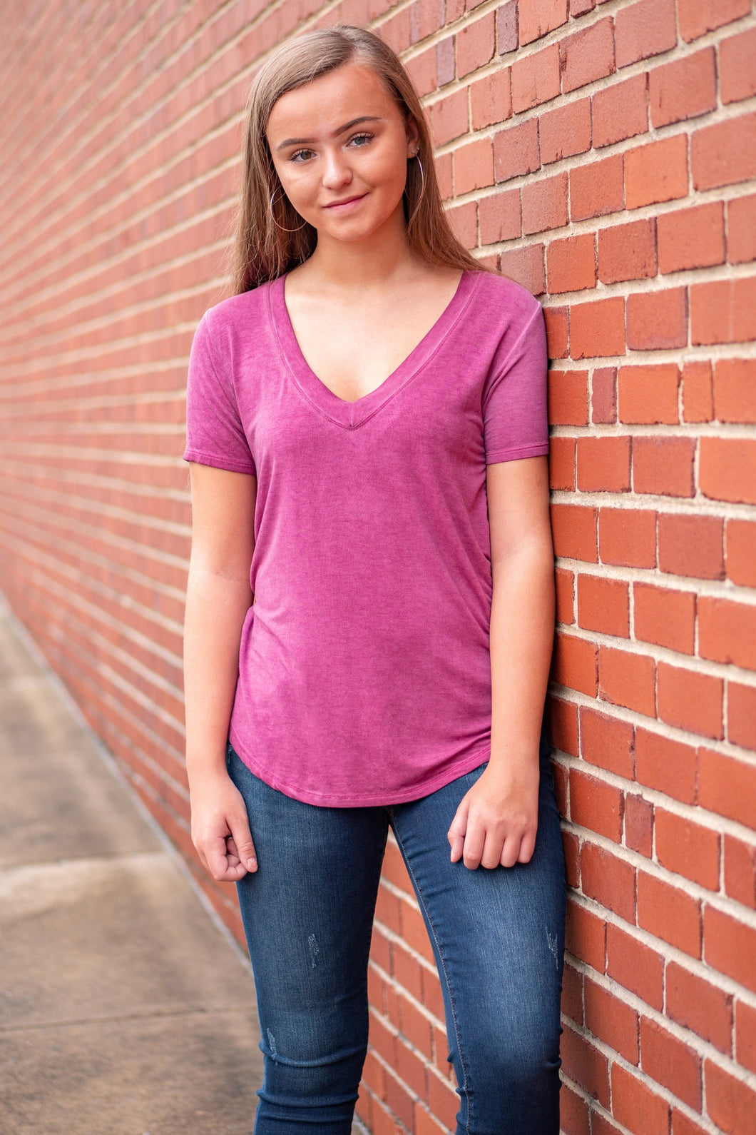 Washed Deep V-Neck Tee