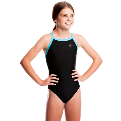 Girls Ignite Swimsuit - Black/Aqua