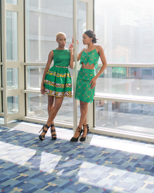 Ankara Taffeta Belted Dress