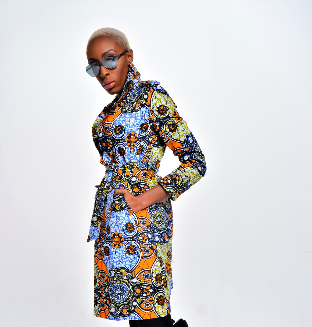 Mabel Jewel Trench Coat - Blue and Yellow