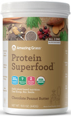 Amazing Grass | Protein SuperFood Chocolate Peanut Butter | 10 Servings
