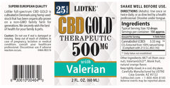 Lidtke/CBD | CBD GOLD with Valerian 500mg | 2 oz (60 ml)