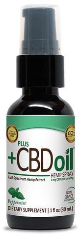 PlusCBD Oil | CBD Oil Spray Peppermint EVOO | 100 mg (1 oz)