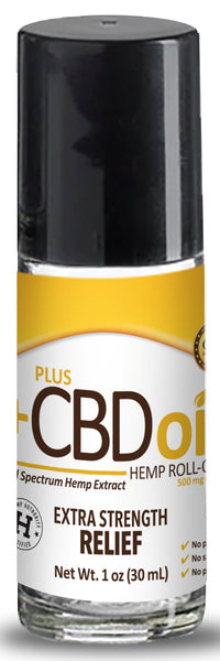 PlusCBD Oil | CBD Oil Relief Roll-On Extra Strength 500mg | 1 oz