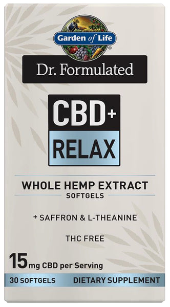 Garden of Life | Dr. Formulated CBD+ Relax 15mg | 30 Softgels