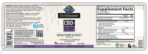 Garden of Life | Dr. Formulated CBD+ Sleep 15mg | 30 Softgels