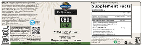 Garden of Life | Dr. Formulated CBD+ DHA 15mg | 30 Softgels