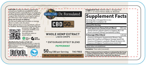 Garden of Life | Dr. Formulated CBD Oil 50mg Peppermint Drops | 1 oz