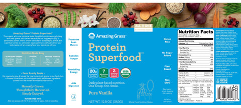 Amazing Grass | Protein SuperFood Pure Vanilla | 11 Servings