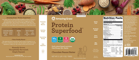 Amazing Grass | Protein SuperFood Chocolate Peanut Butter | 18 Servings