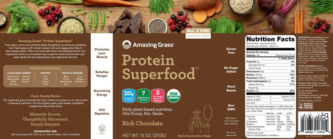 Amazing Grass | Protein SuperFood Rich Chocolate | 10 Servings