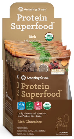 Amazing Grass | Protein SuperFood Rich Chocolate | 10 Packets
