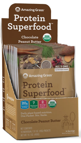 Amazing Grass | Protein SuperFood Chocolate Peanut Butter | 10 Packets