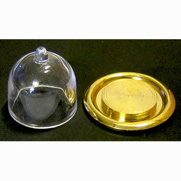 Dollhouse Miniature Brass Plate with Dome Cover ~ IM65052