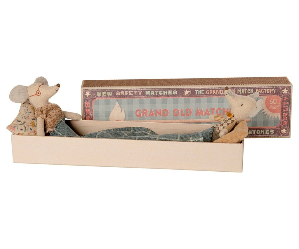 Maileg Grandma and Grandpa Mouse in matchbox