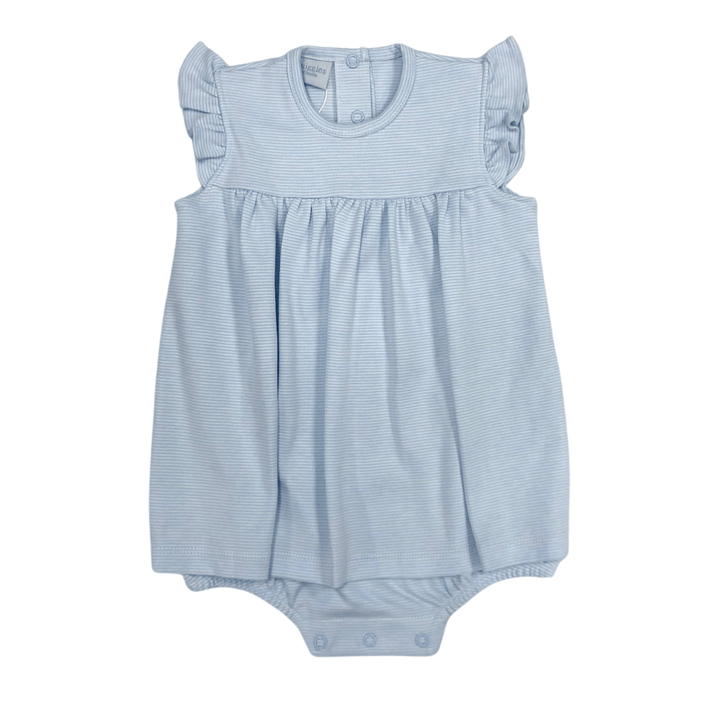 Squiggles Apron Romper with Flutter Sleeve - Light Blue Spring 2021