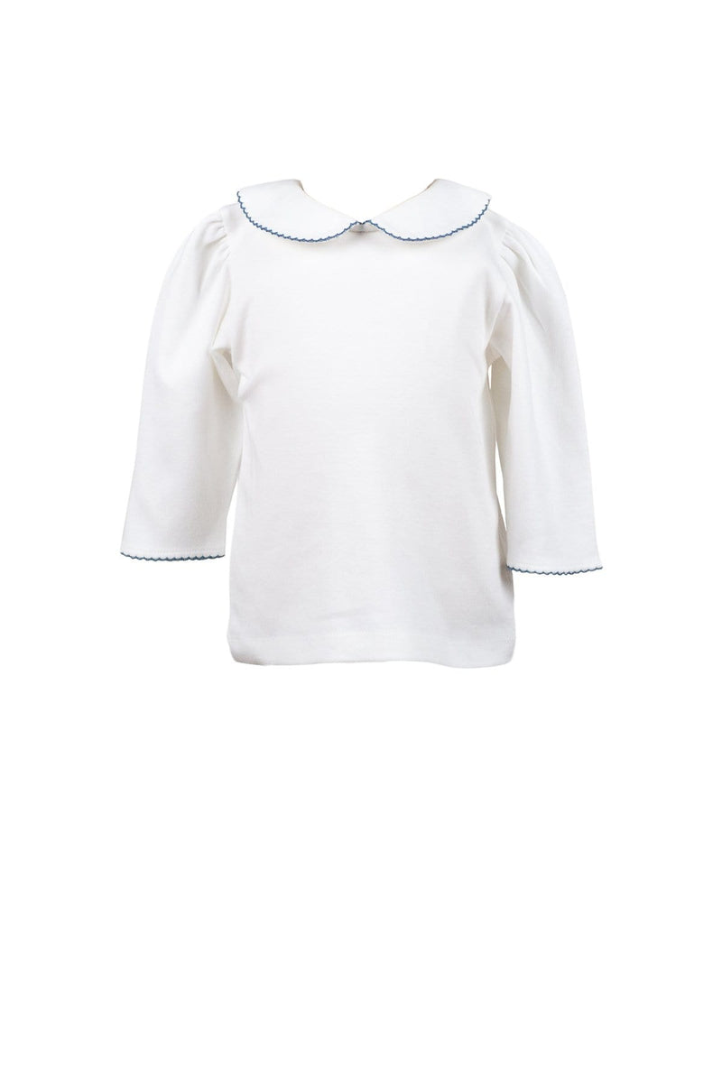 The Proper Peony White 3/4 Sleeve Top with Dusty Blue Trim