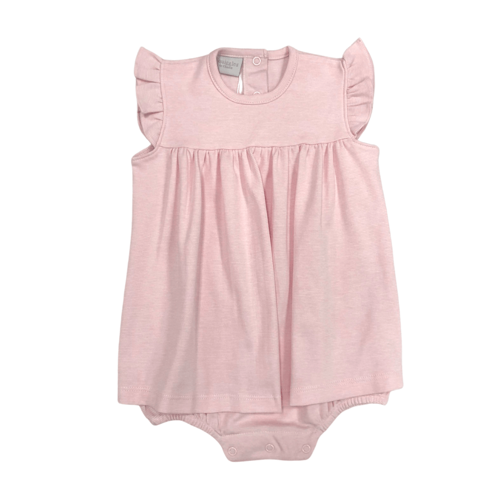 Squiggles Apron Romper with Flutter Sleeve - Light Pink Spring 2021