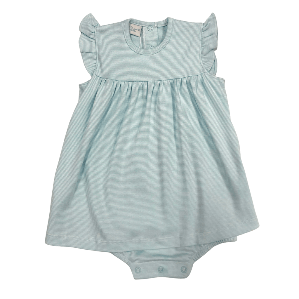 Squiggles Apron Romper with Flutter Sleeve - Aqua Spring 2021